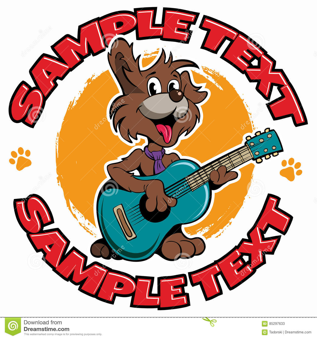 Cartoon Style Puppy Dog Playing The Guitar Vector Logo Stock