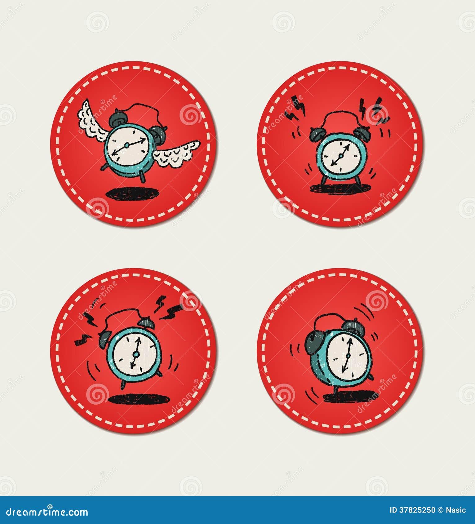 Cartoon style retro alarm clock icons