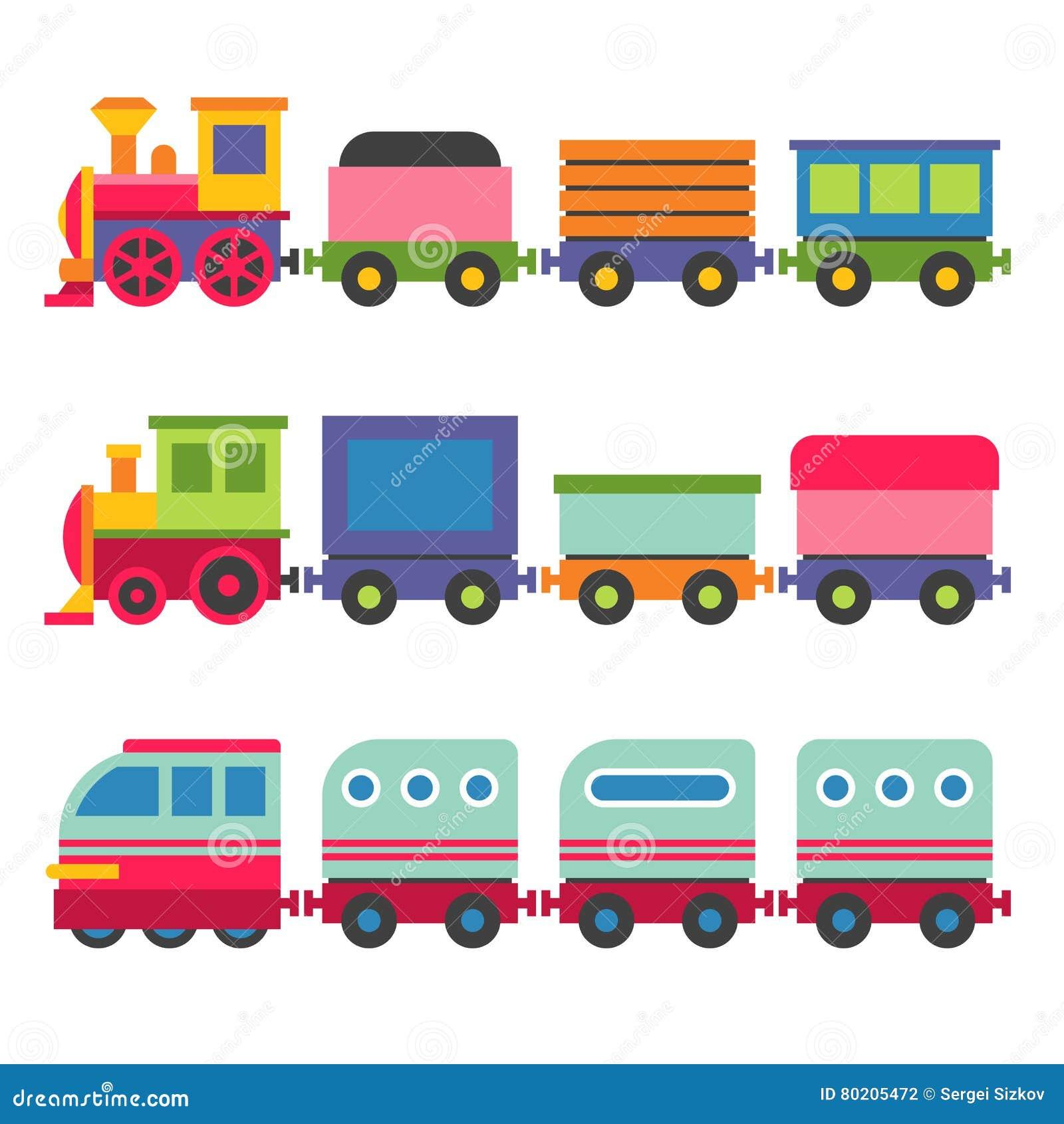 cartoon style toy railroad train set vector stock vector image