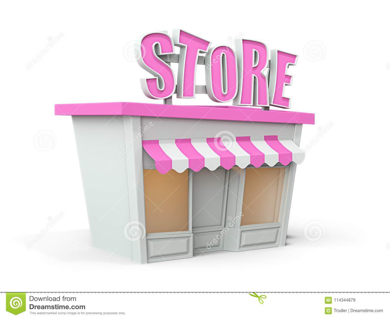 Cartoon Stylized Pink White Color Store. On White. 3d Render Stock ...