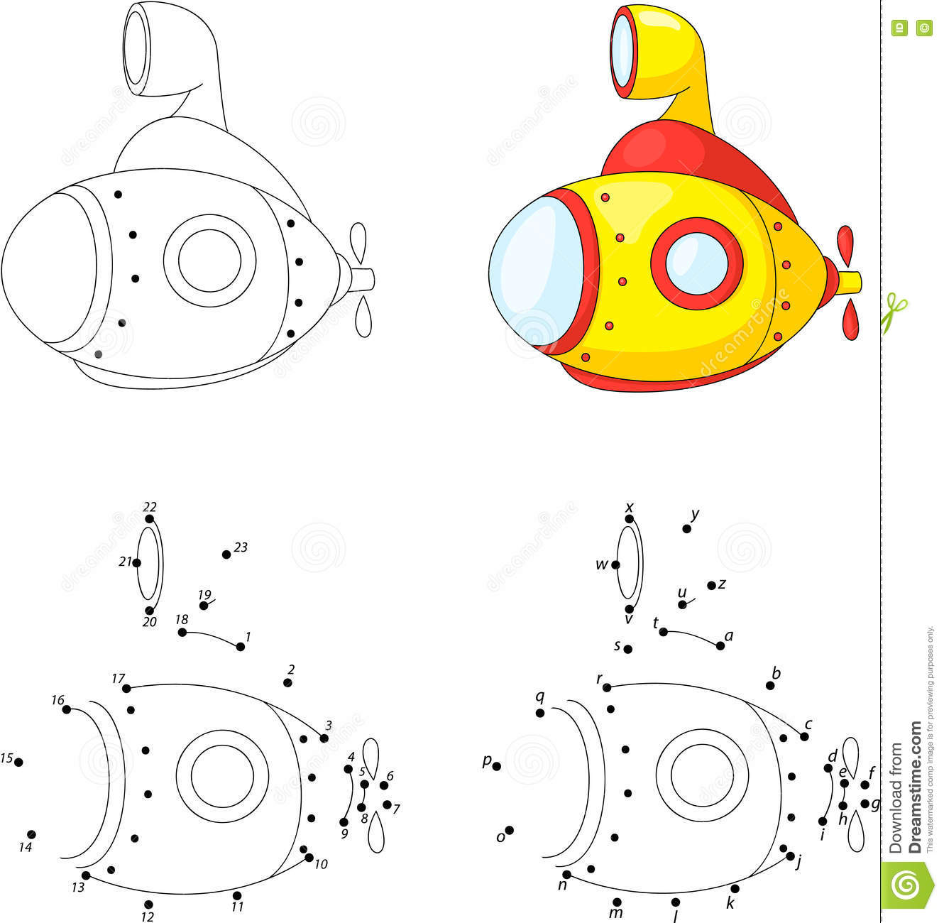 Cartoon Submarine Coloring Book And Dot To Game For Kids