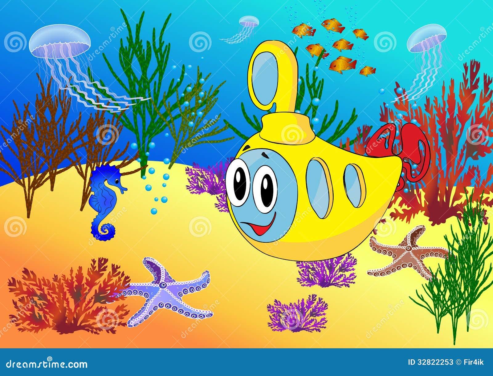 Cartoon Submarine In The Ocean Stock Vector Illustration