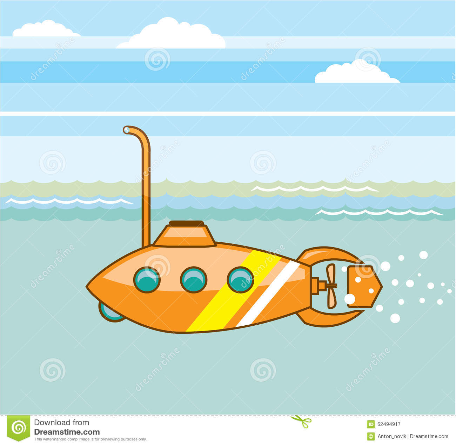 Cartoon Submarine Vector Stock Vector Image 62494917