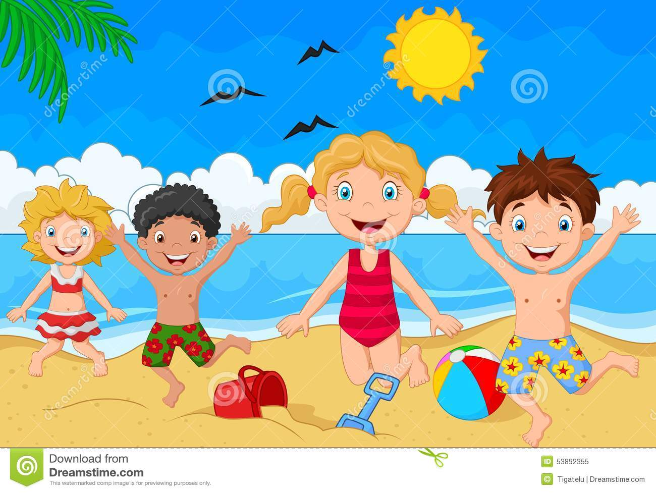 Cartoon Summer Day Stock Vector  Image: 53892355