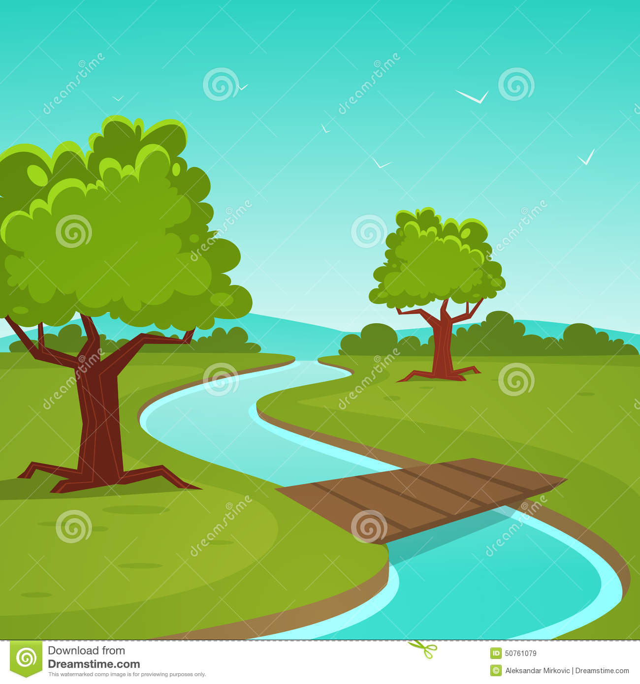 How To Spring Clean Cartoon Summer Landscape Stock Vector Image 50761079