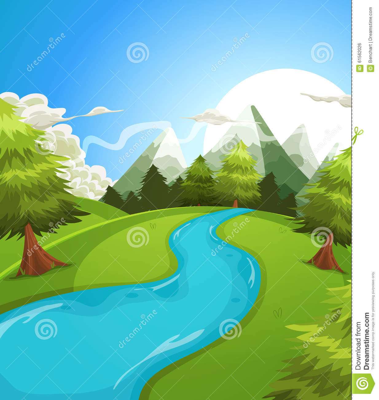 Illustration of a cartoon summer or spring high mountain landscape ...