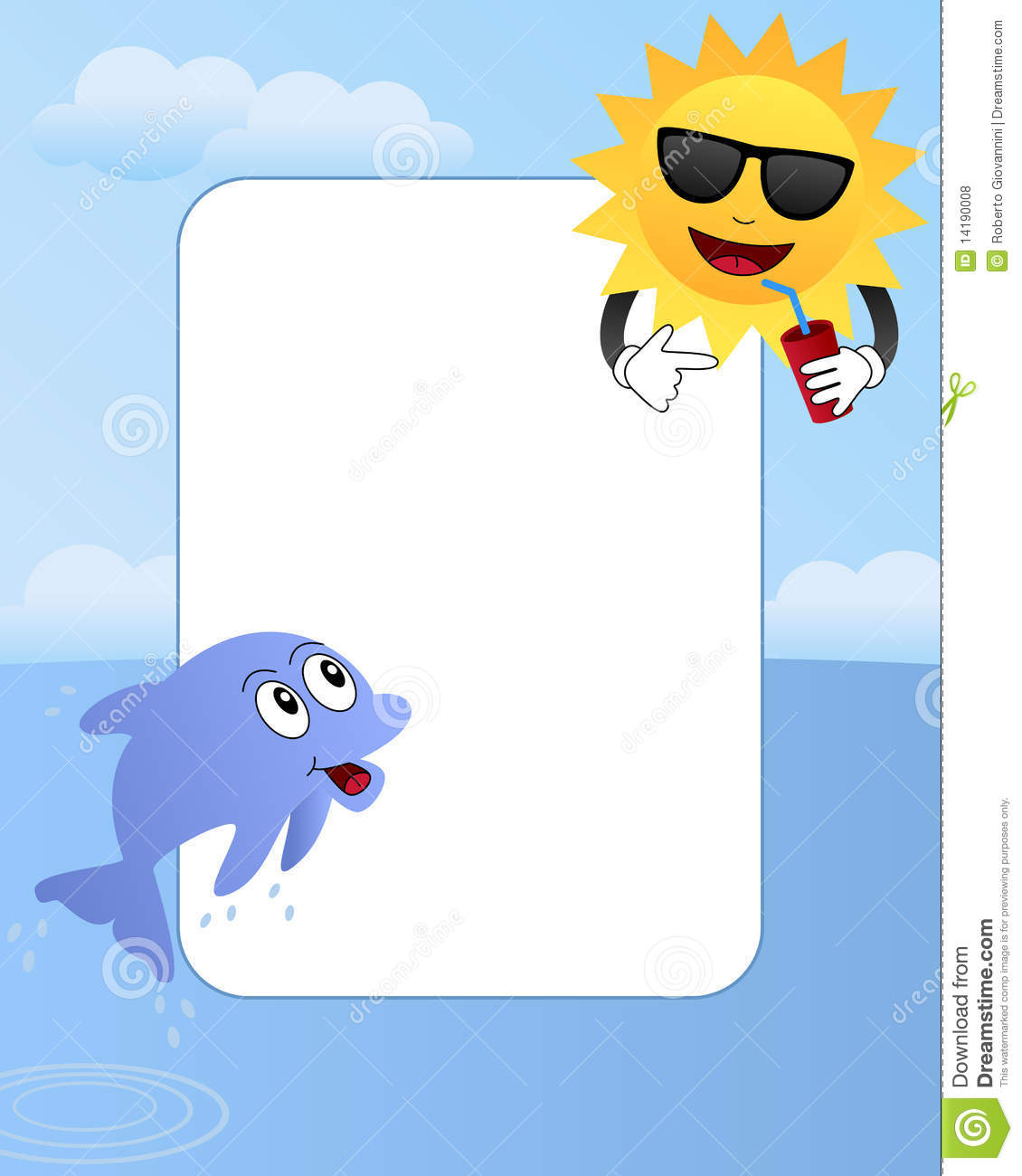 Cartoon Summer Photo Frame 2 Royalty Free Stock Photos
