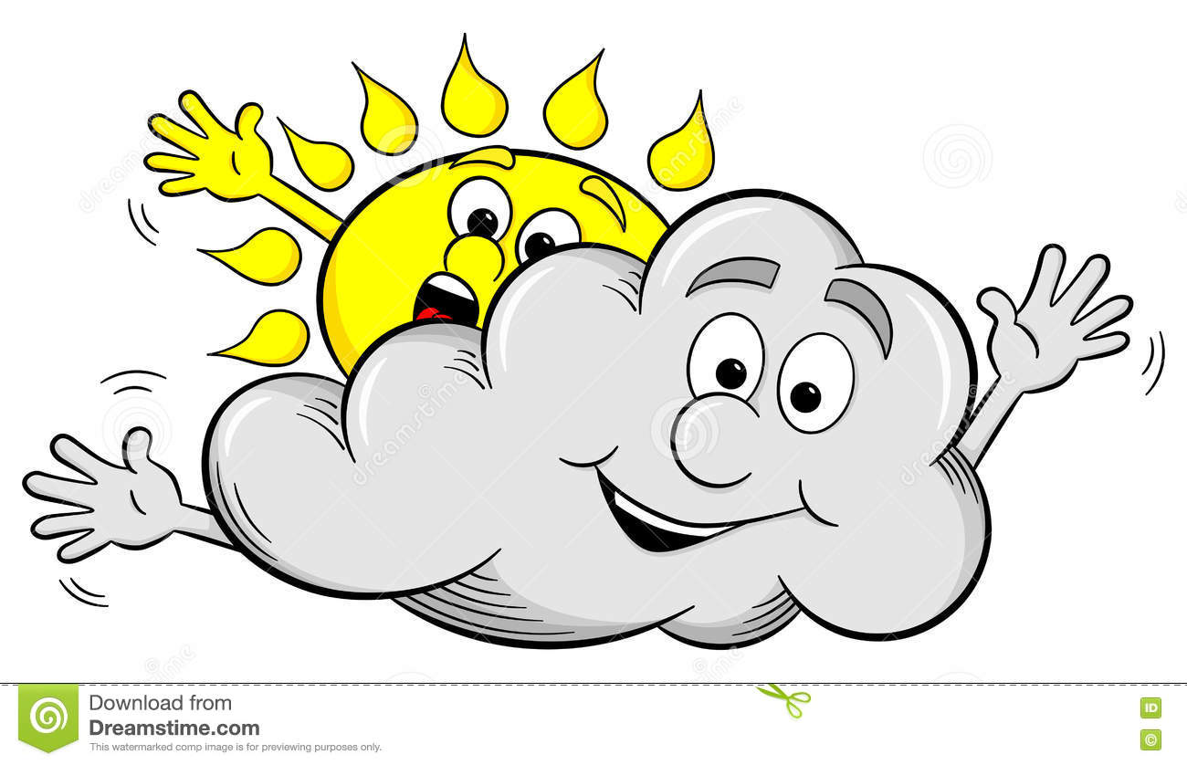 cartoon sun and cloud make overcast sky stock vector image 71906196