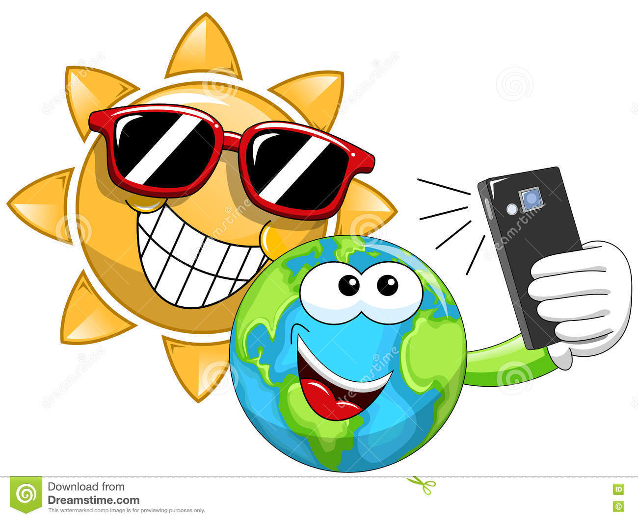 cartoon sun and earth taking selfie stock vector   image
