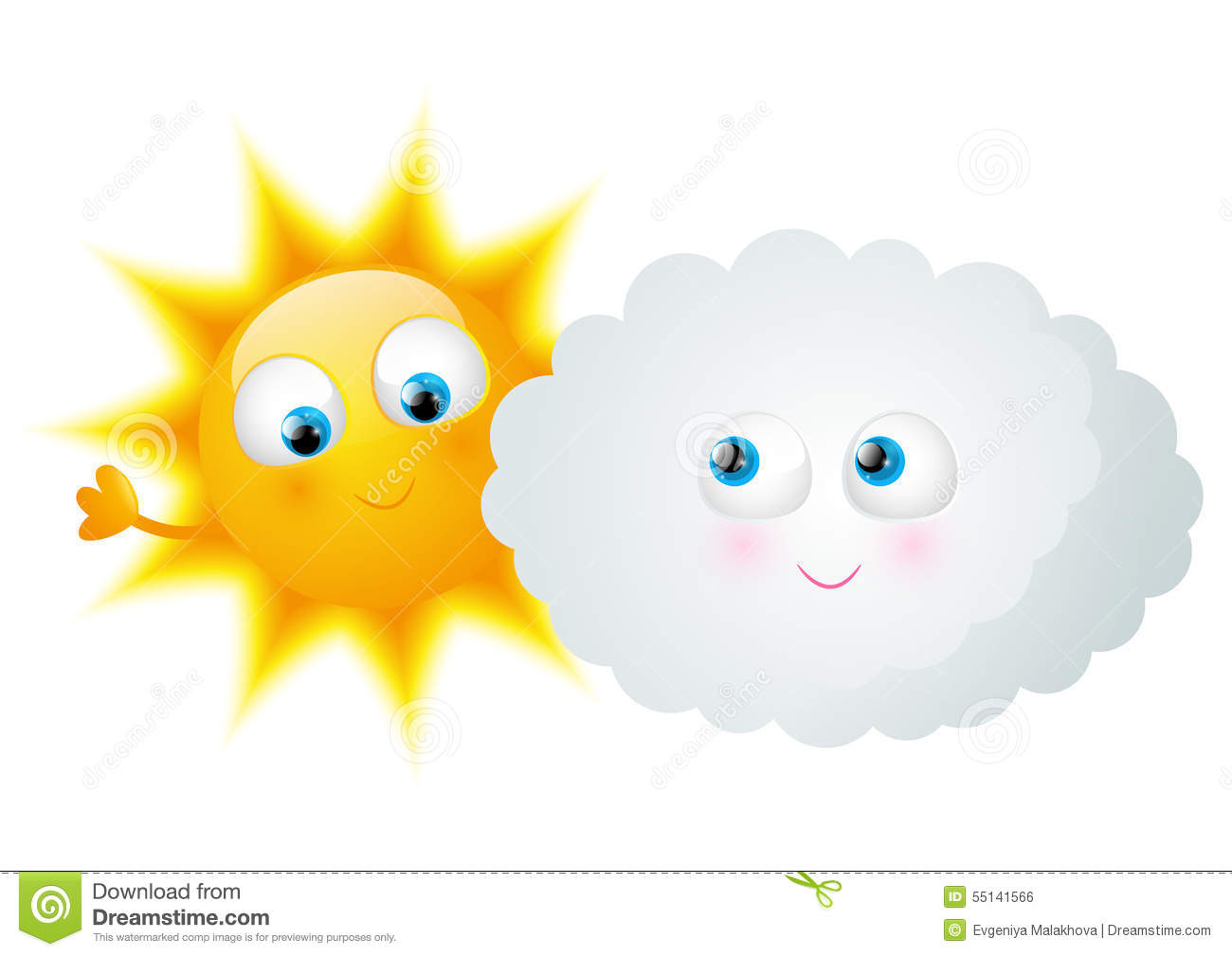 Cartoon Sun With Funny Cloud Stock Vector - Image: 55141566