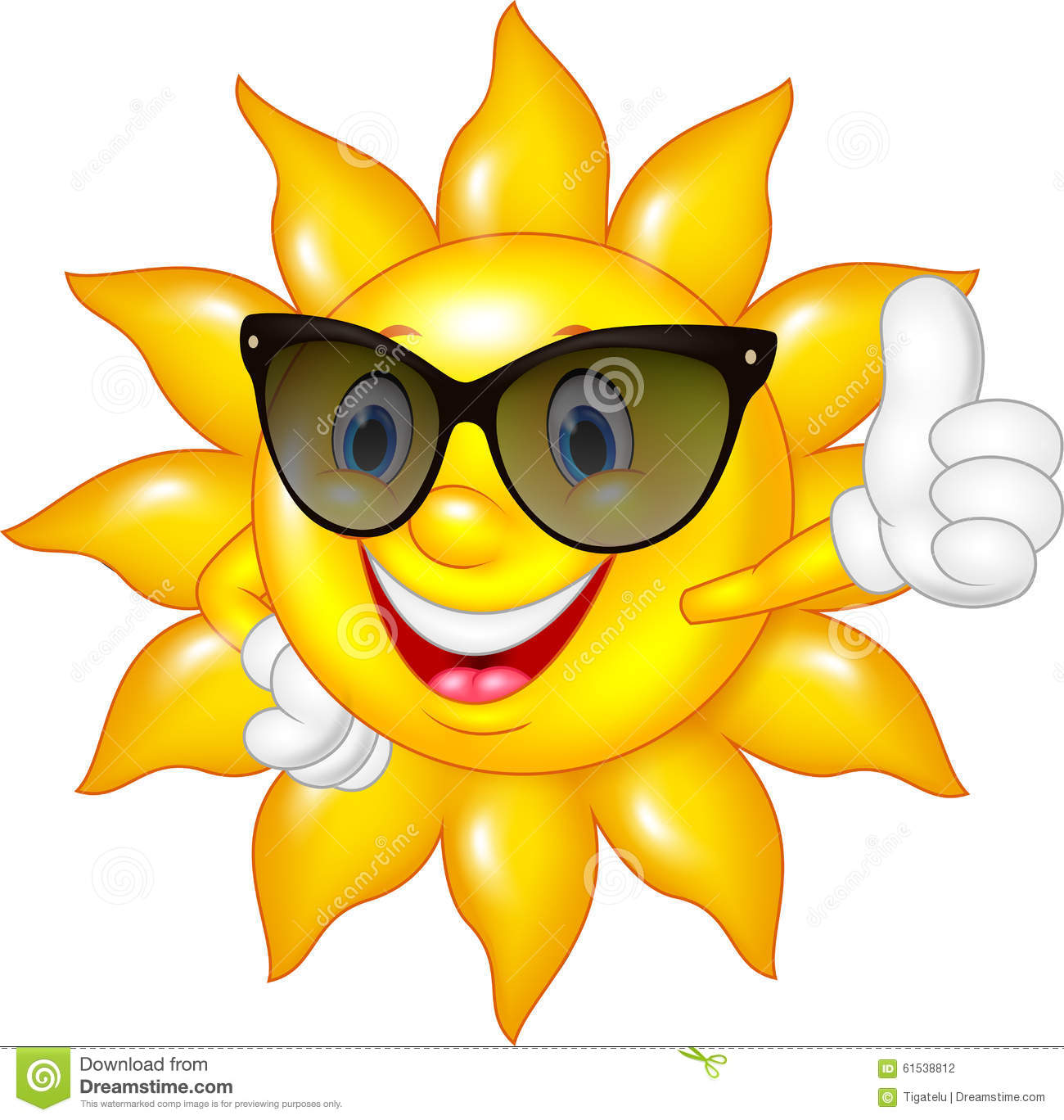 Cartoon Sun Giving Thumbs Up Isolated On White Background Stock Vector Image 61538812