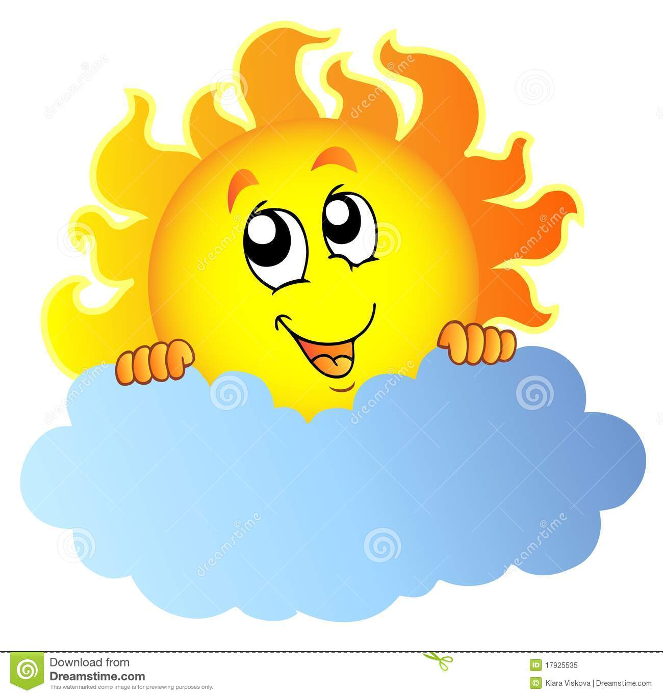 cartoon sun holding cloud stock vector illustration of rh dreamstime com sun behind clouds clipart sun and clouds clipart