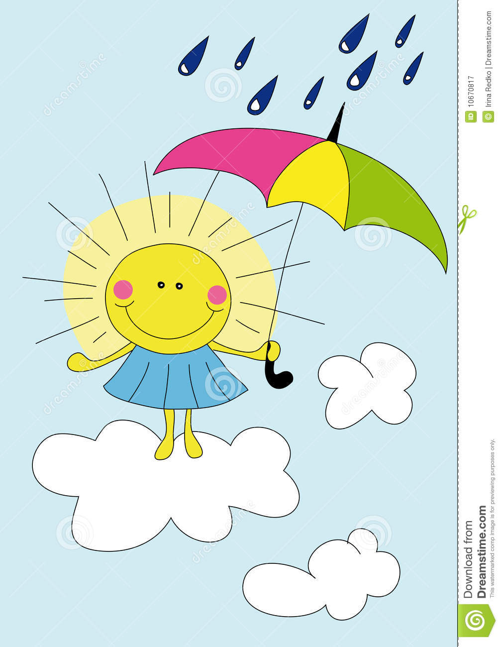 Illustration of cartoon sun on the cloud over blue sky in the rain.