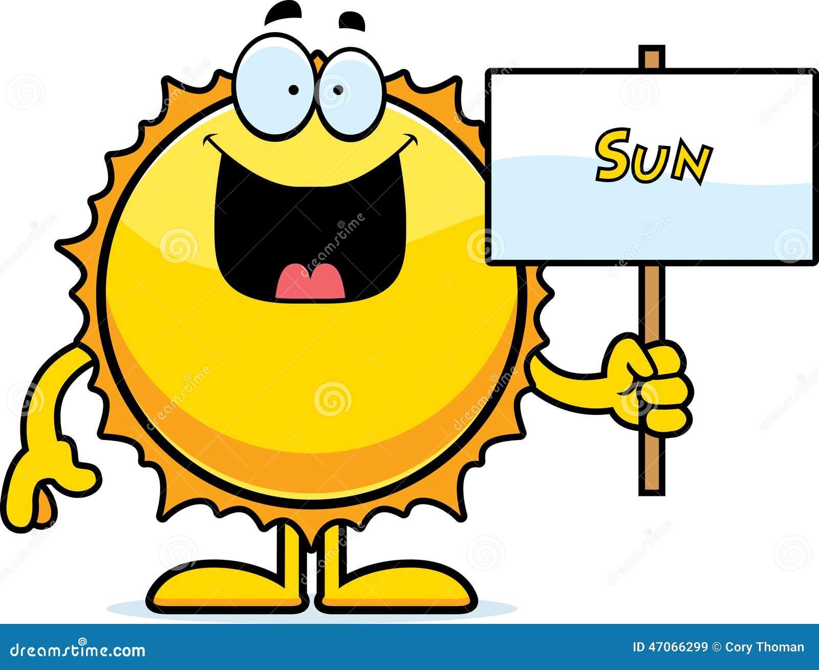 Cartoon Sun Sign Stock...