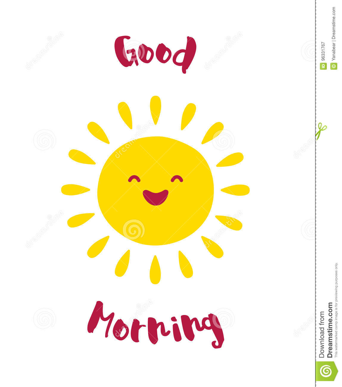 Cartoon Sun Smiles Good Morning Card Vector Stock Vector
