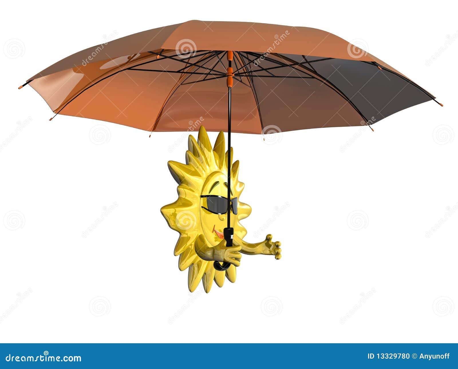 Cartoon sun with umbrella