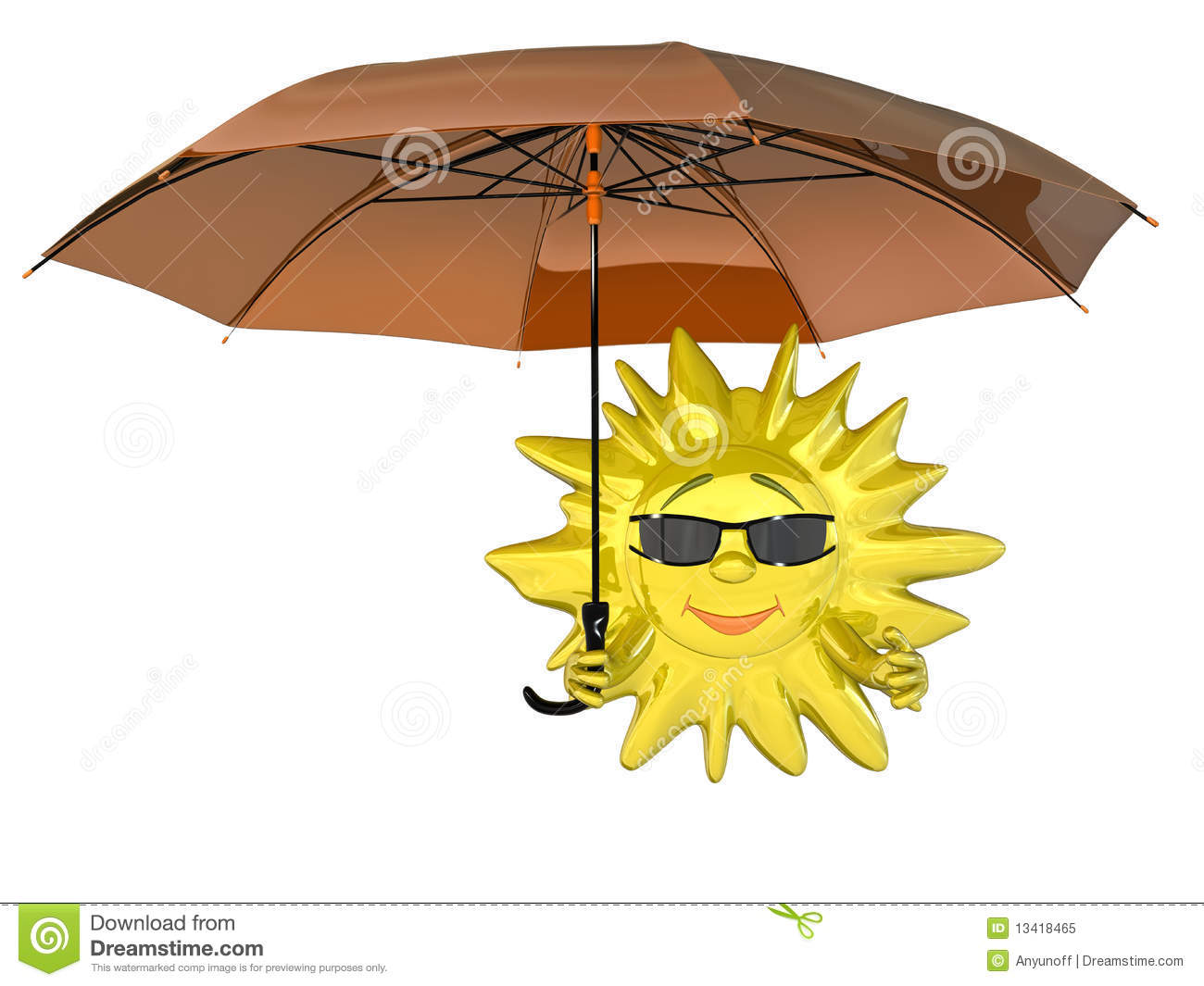 Cartoon sun with umbrella