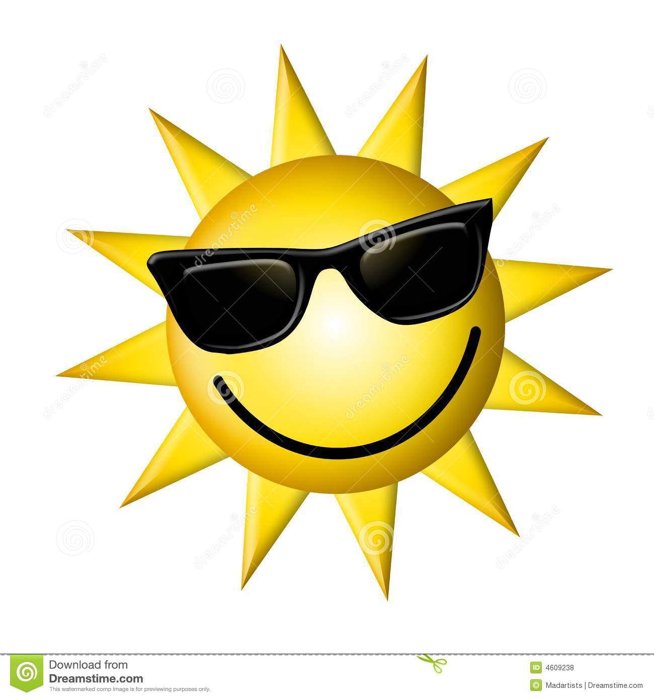 b2d2182eb354 An illustration featuring a bright yellow happy sun wearing black sunglasses  and a smile.