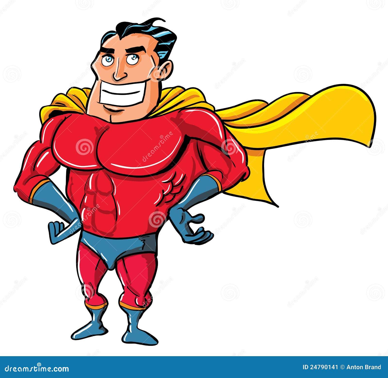 Cartoon Superhero In A Classic Pose Stock Image - Image: 24790141