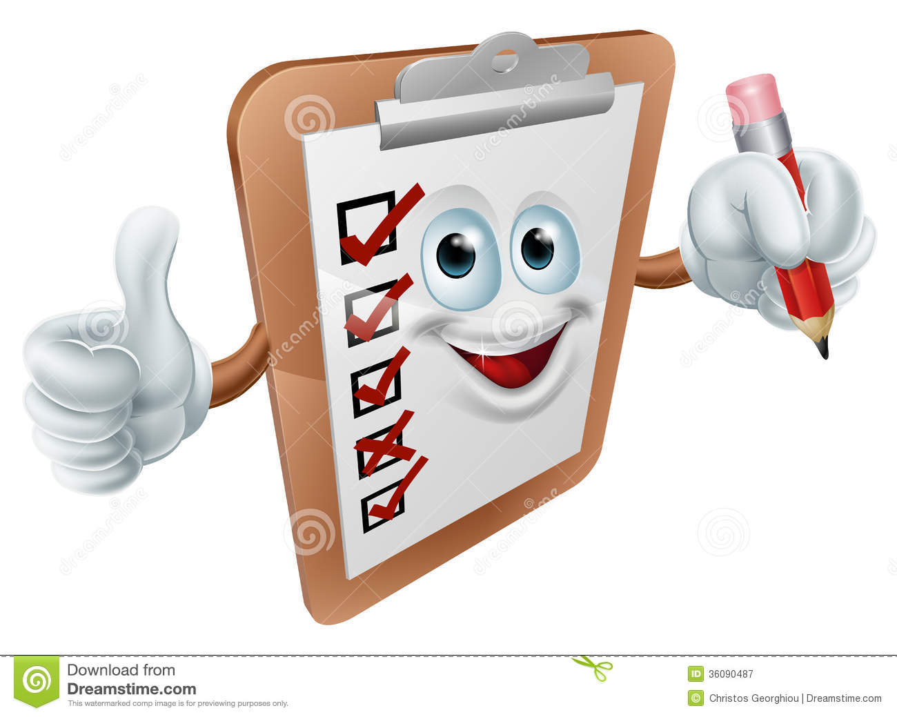 cartoon clipboard survey mascot giving a thumbs up and holding a ...