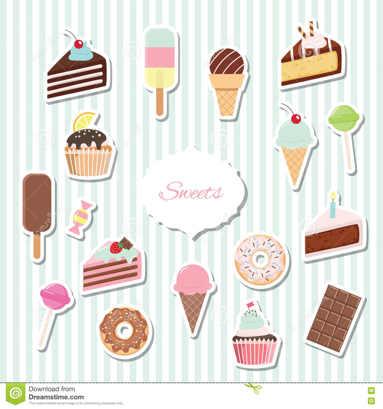 cartoon sweets set - ice cream  donuts  cupcakes  stock vector