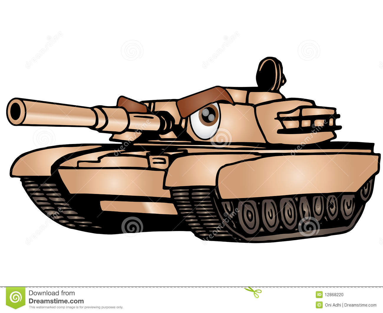 Vintage cartoon tank isolated on a white background.