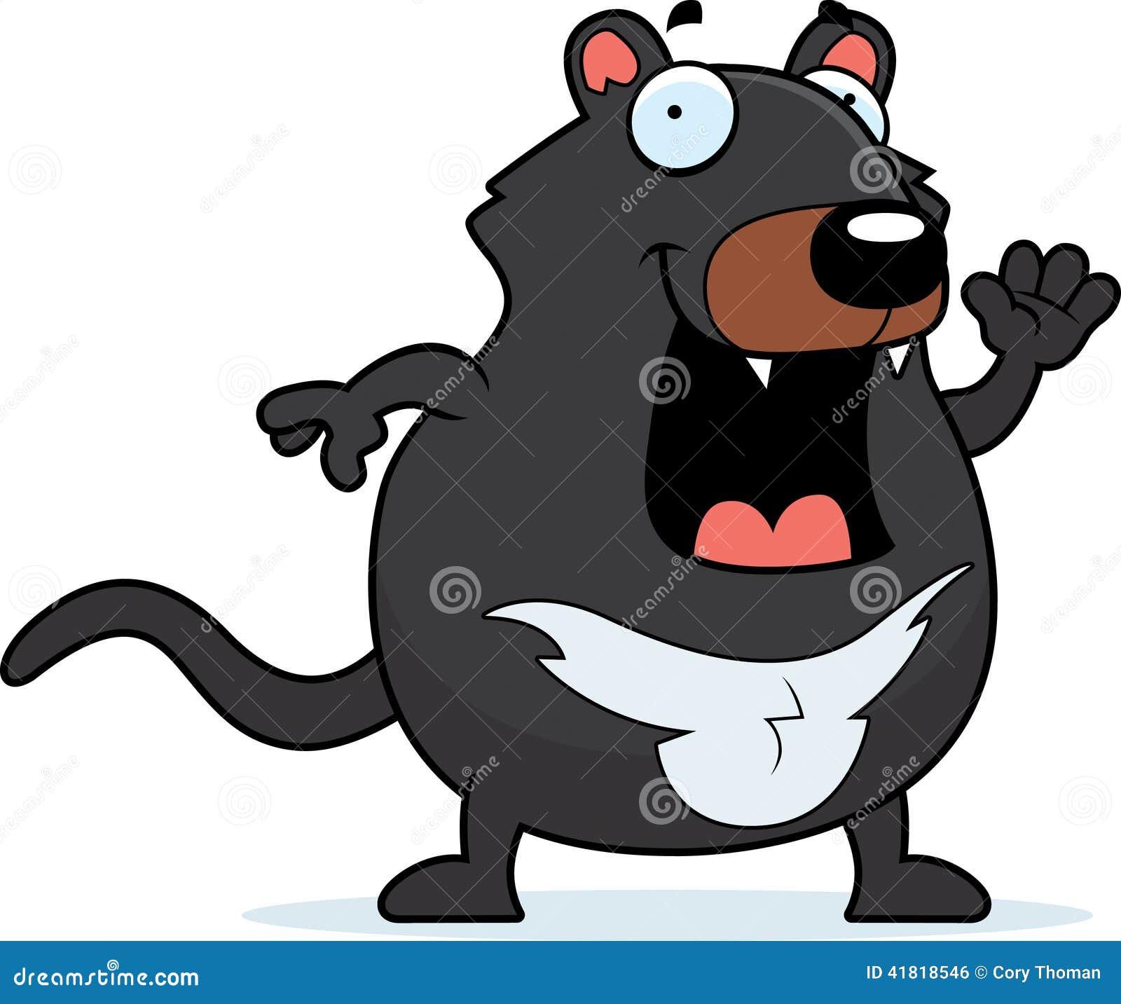 Cartoon Tasmanian Devil Waving