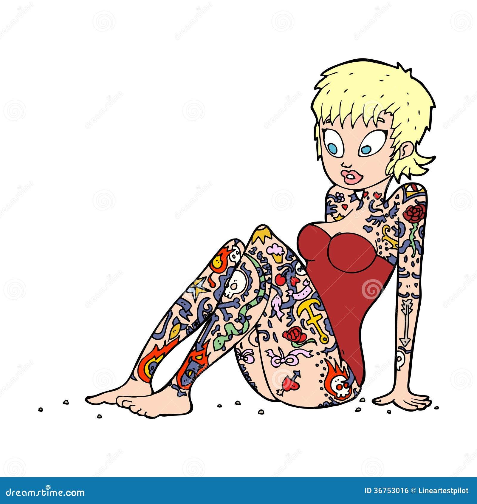 Cartoon Tattoo Girl In Swimsuit Royalty Free Stock Image