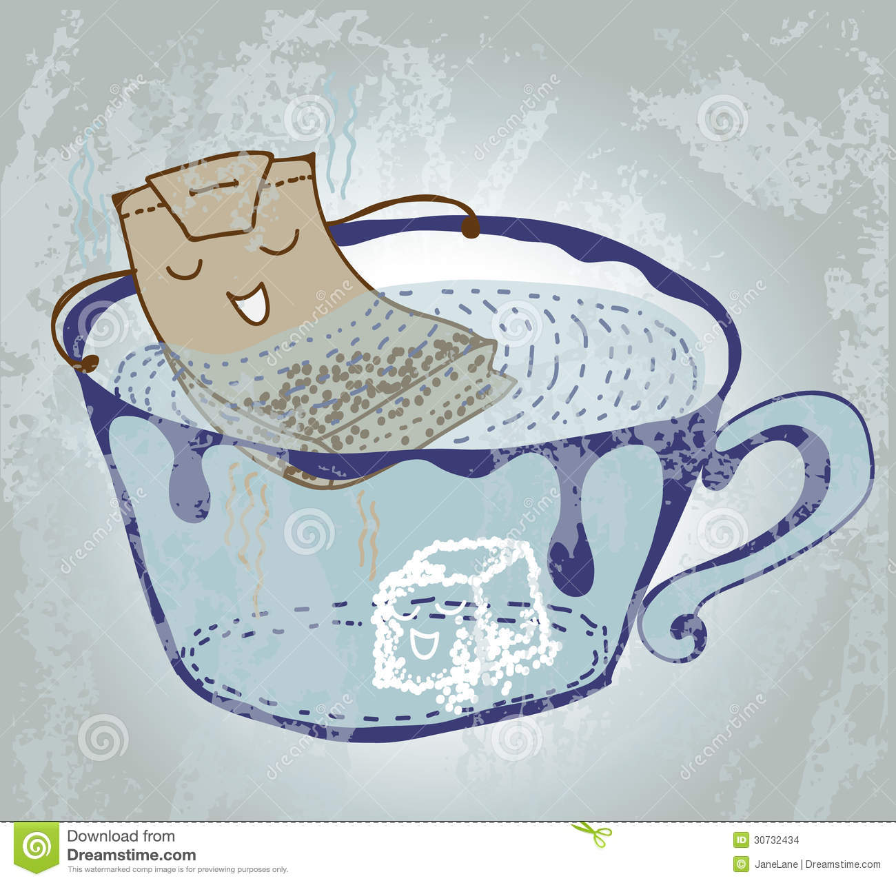 Cartoon tea bag in cup stock illustration. Image of ...