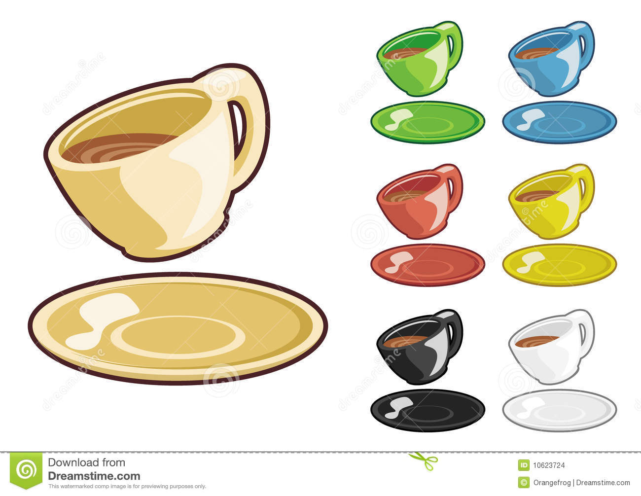 Cartoon tea cup with plate in different color variations.
