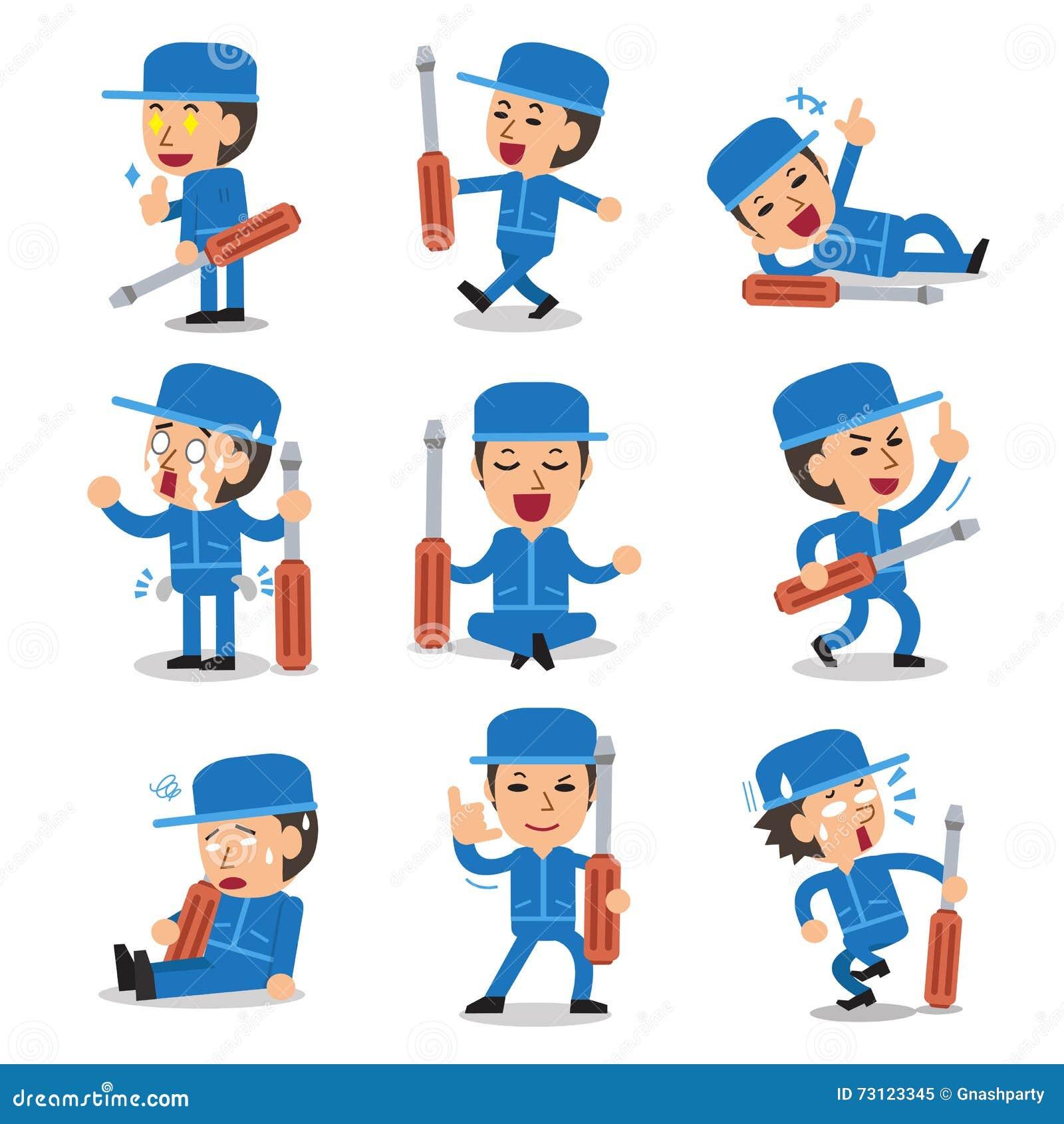 Character Design Set : Cartoon technician character pose set stock vector