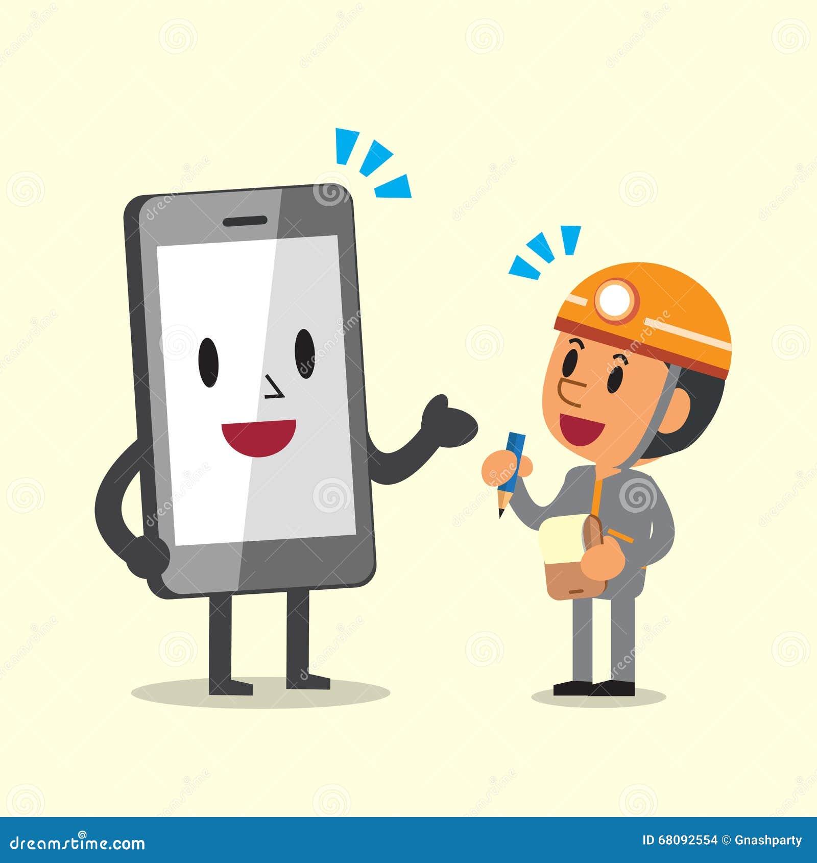 Cartoonsmart Character Design : Cartoon technician and smartphone character stock vector