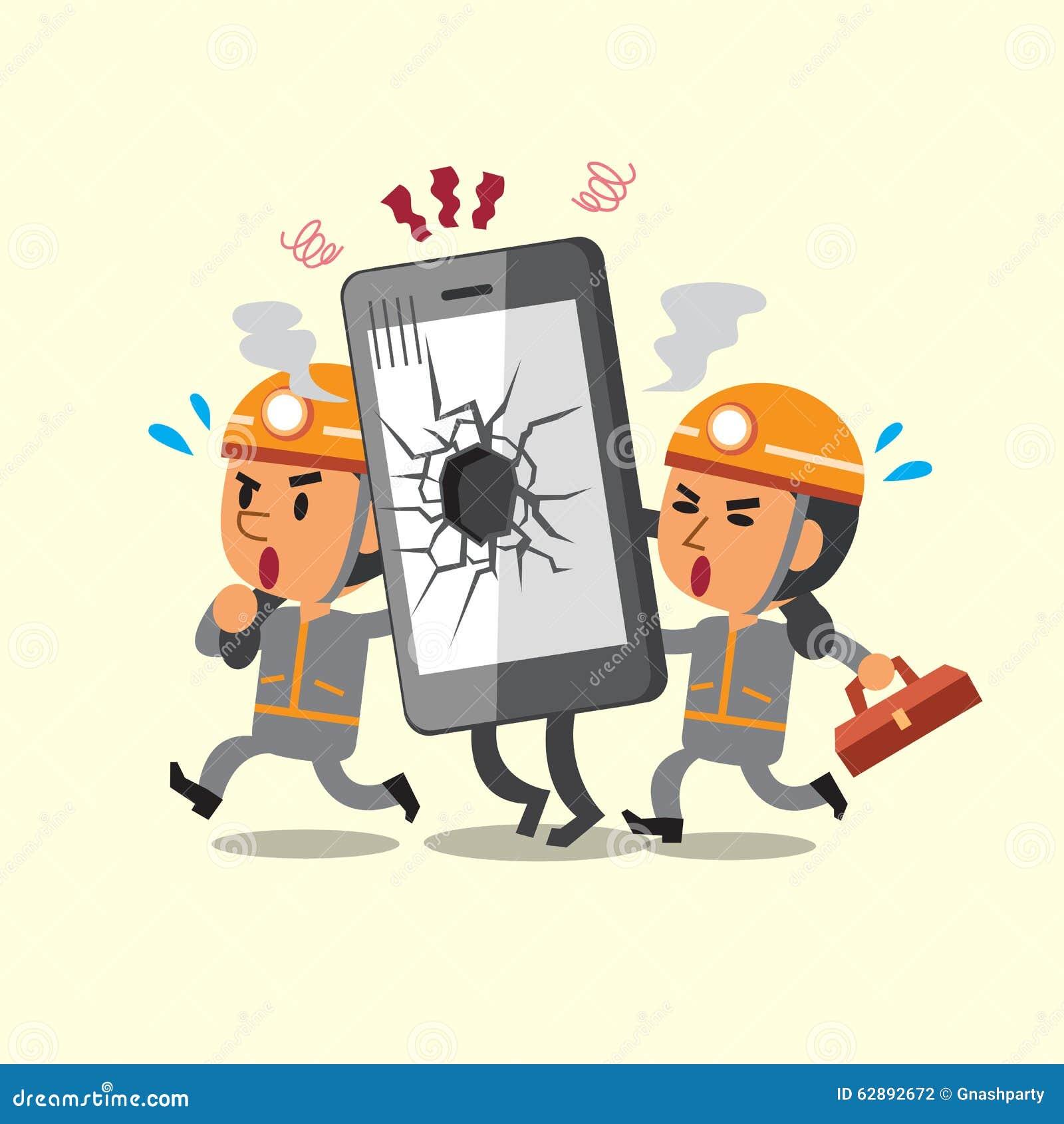 Cartoon Technicians Helping Broken Smartphone Stock Vector