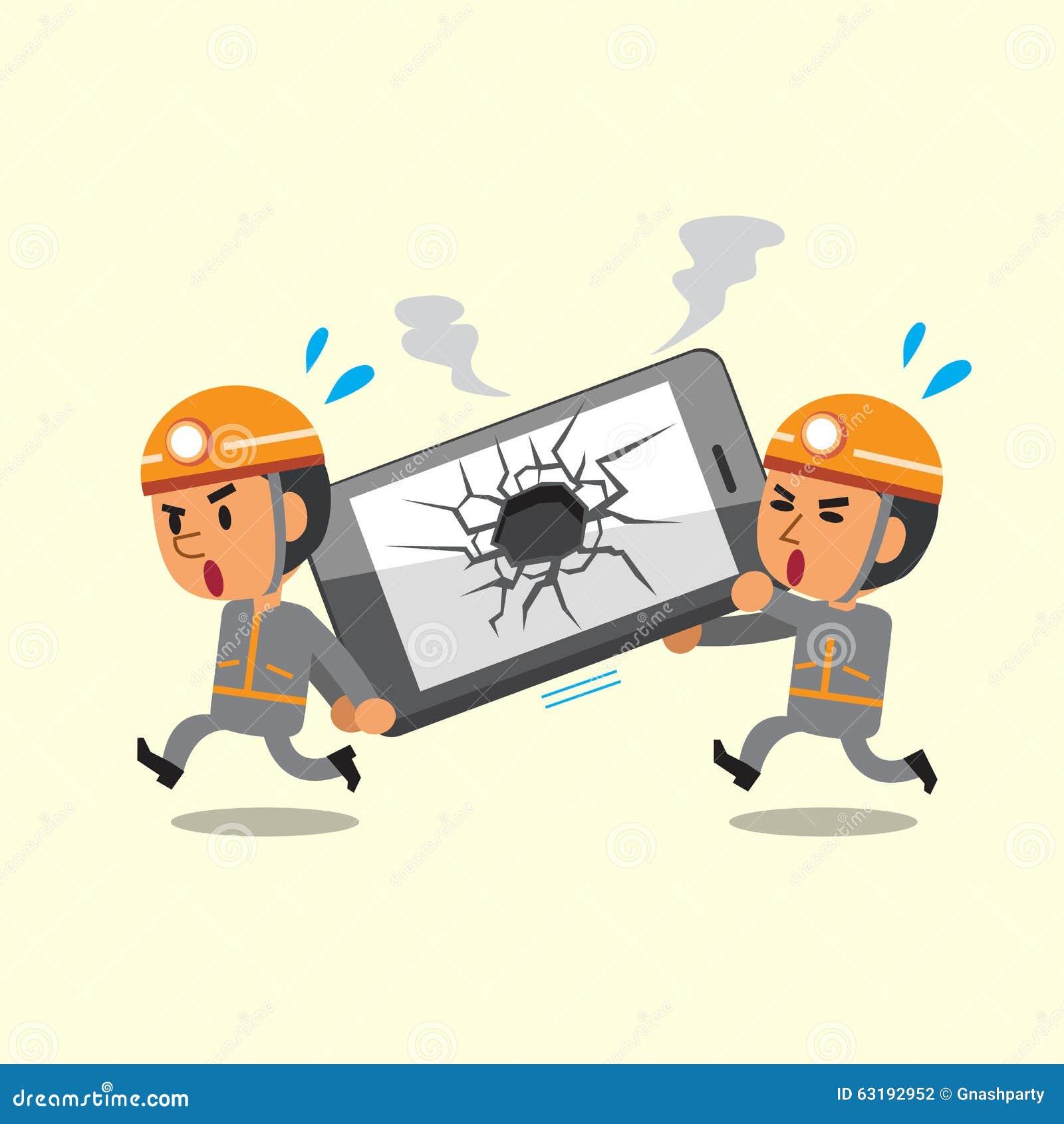 Cartoonsmart Character Design : Cartoon technicians helping broken smartphone stock vector