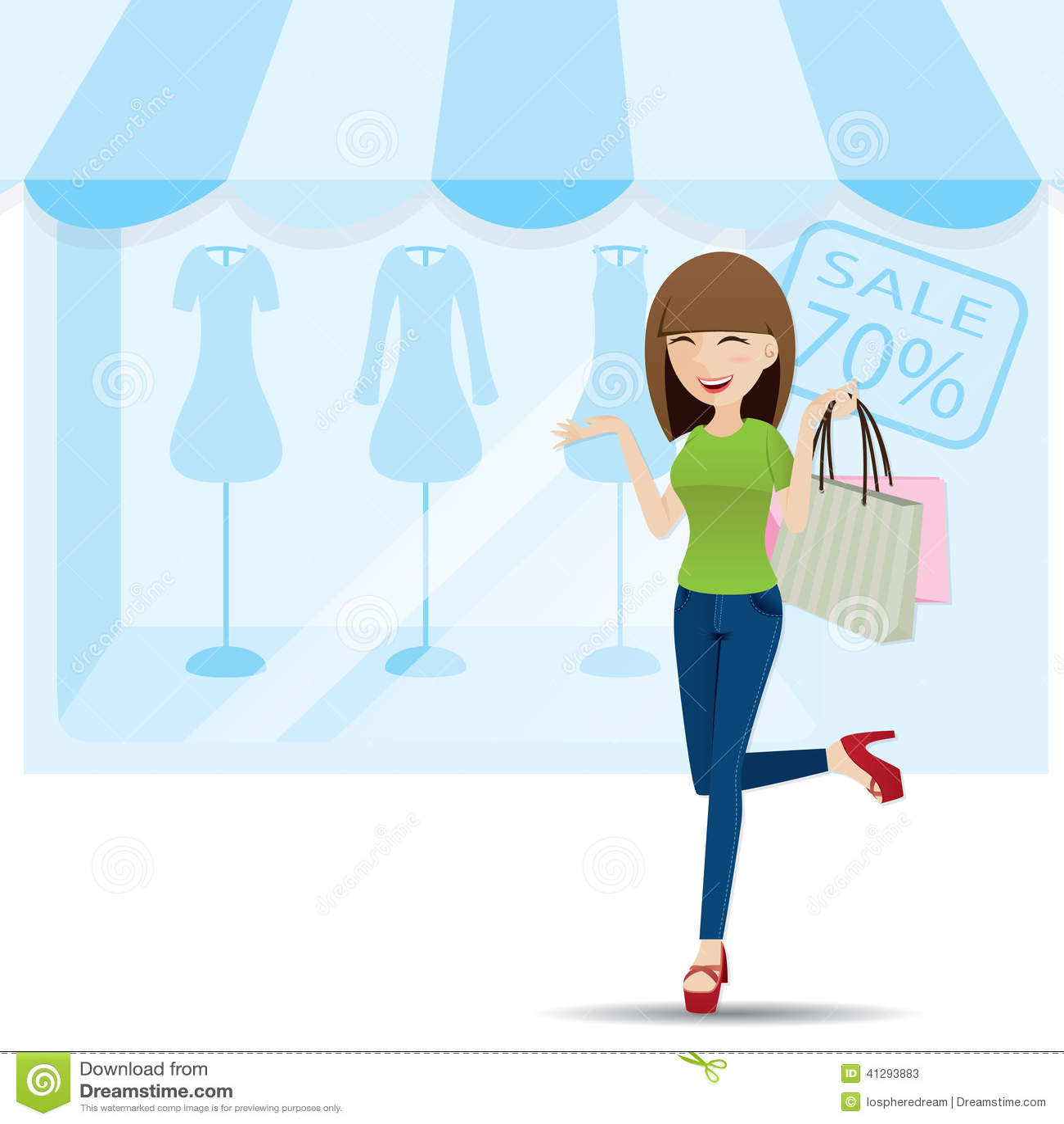 Royalty Free Vector  Download Cartoon Teenage Girl Shopping. Cartoon Teenage Girl Shopping On Shop Background Stock Vector