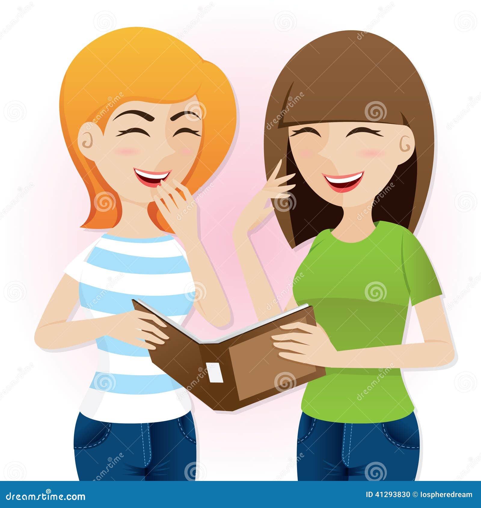 cartoon teenage girls laughing with magazine stock vector gossip clipart gossip clipart