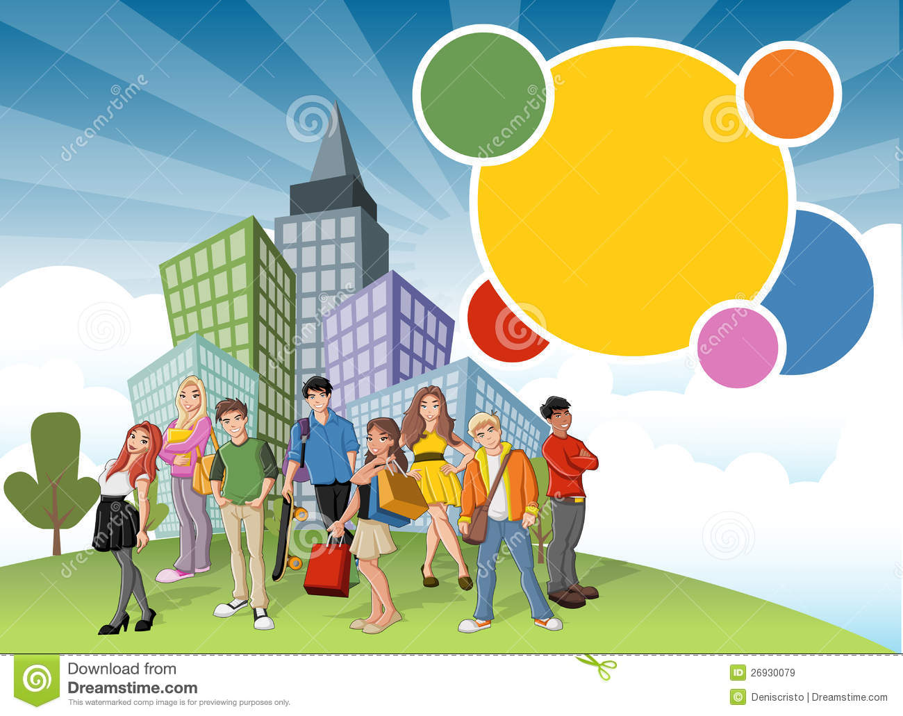 Royalty free stock images cartoon teenagers on green park in the city