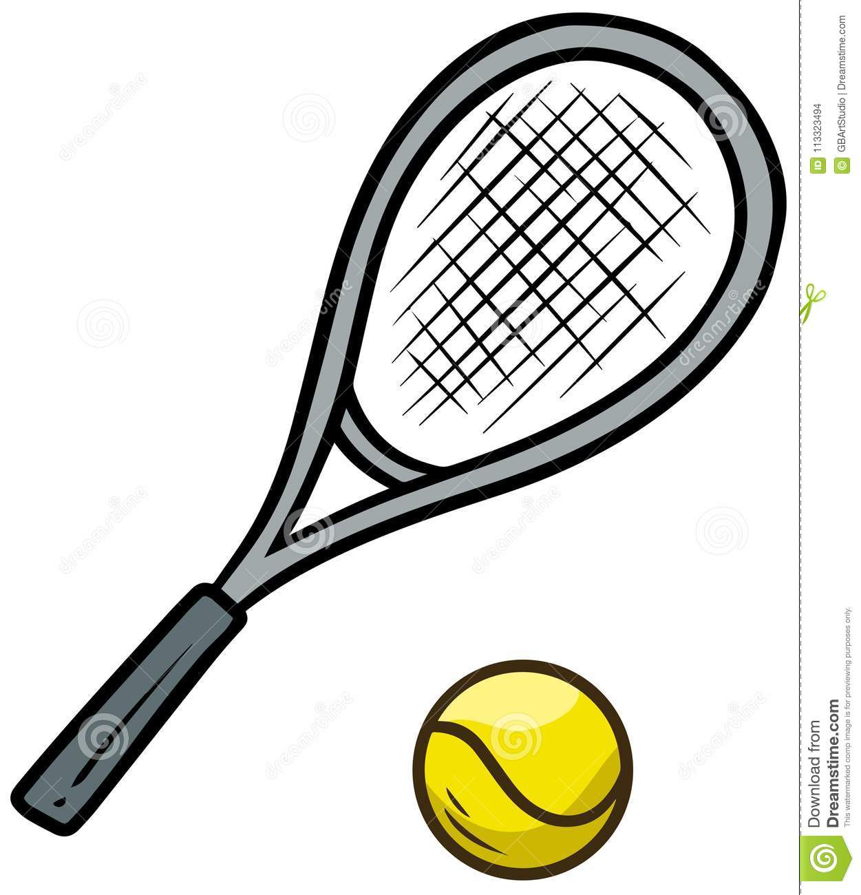d850f263c Cartoon tennis racket and yellow ball isolated on white background. Vector  icon. More similar stock illustrations