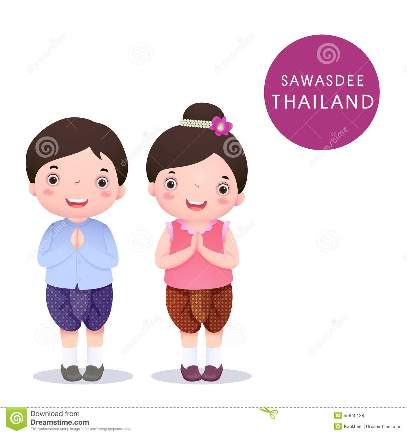 22ba74671 A vector illustration of Thai kids in traditional costume and Sawasdee on white  background
