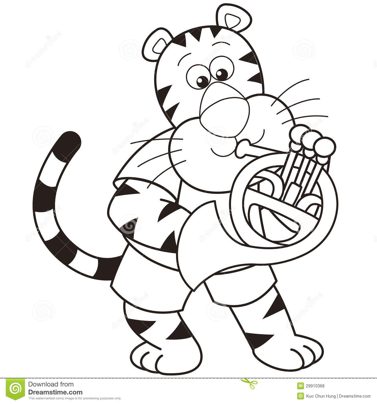 cartoon tiger playing a french horn royalty free stock photos