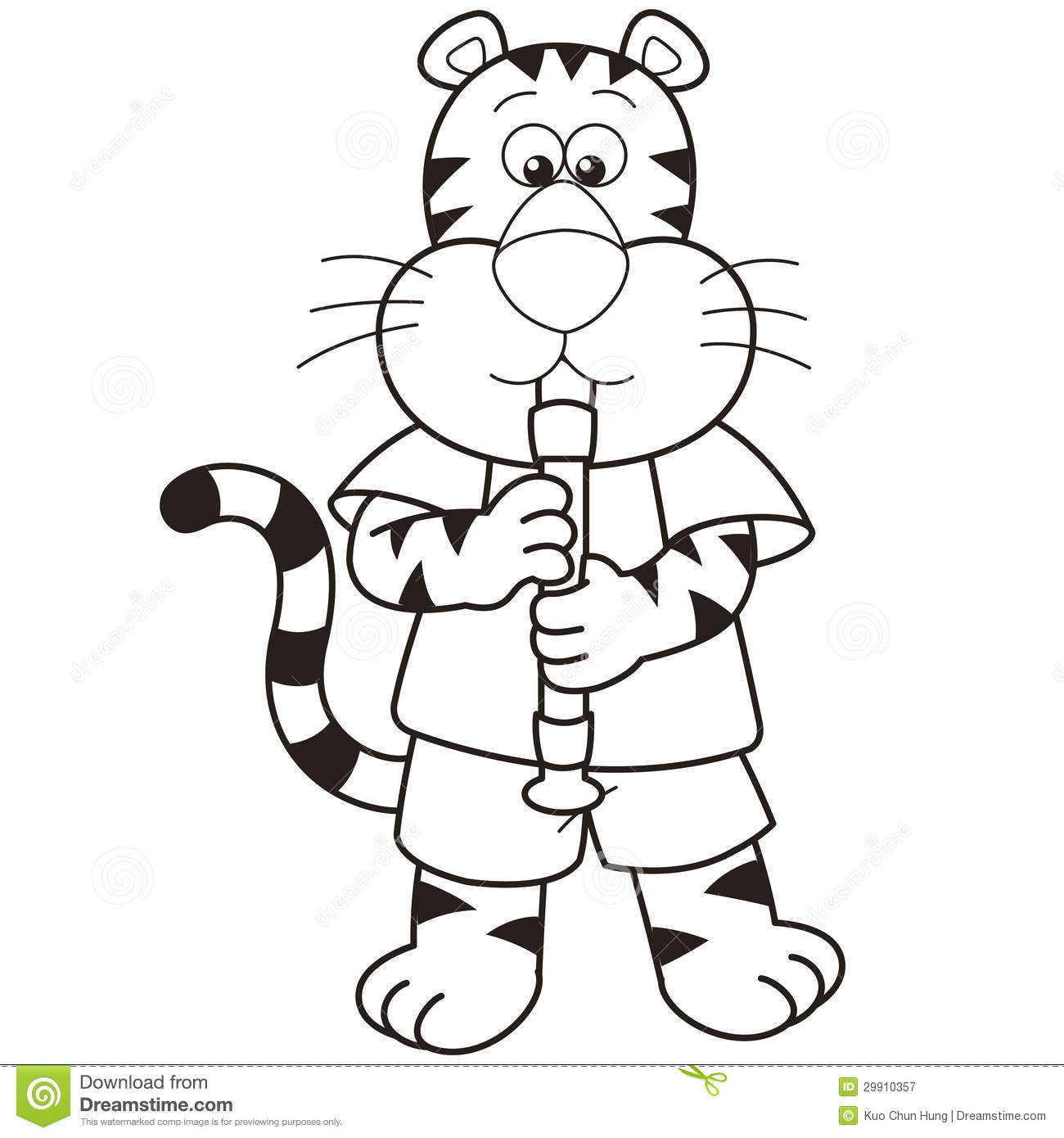 Clipart Oboe Cartoon tiger playing an oboe