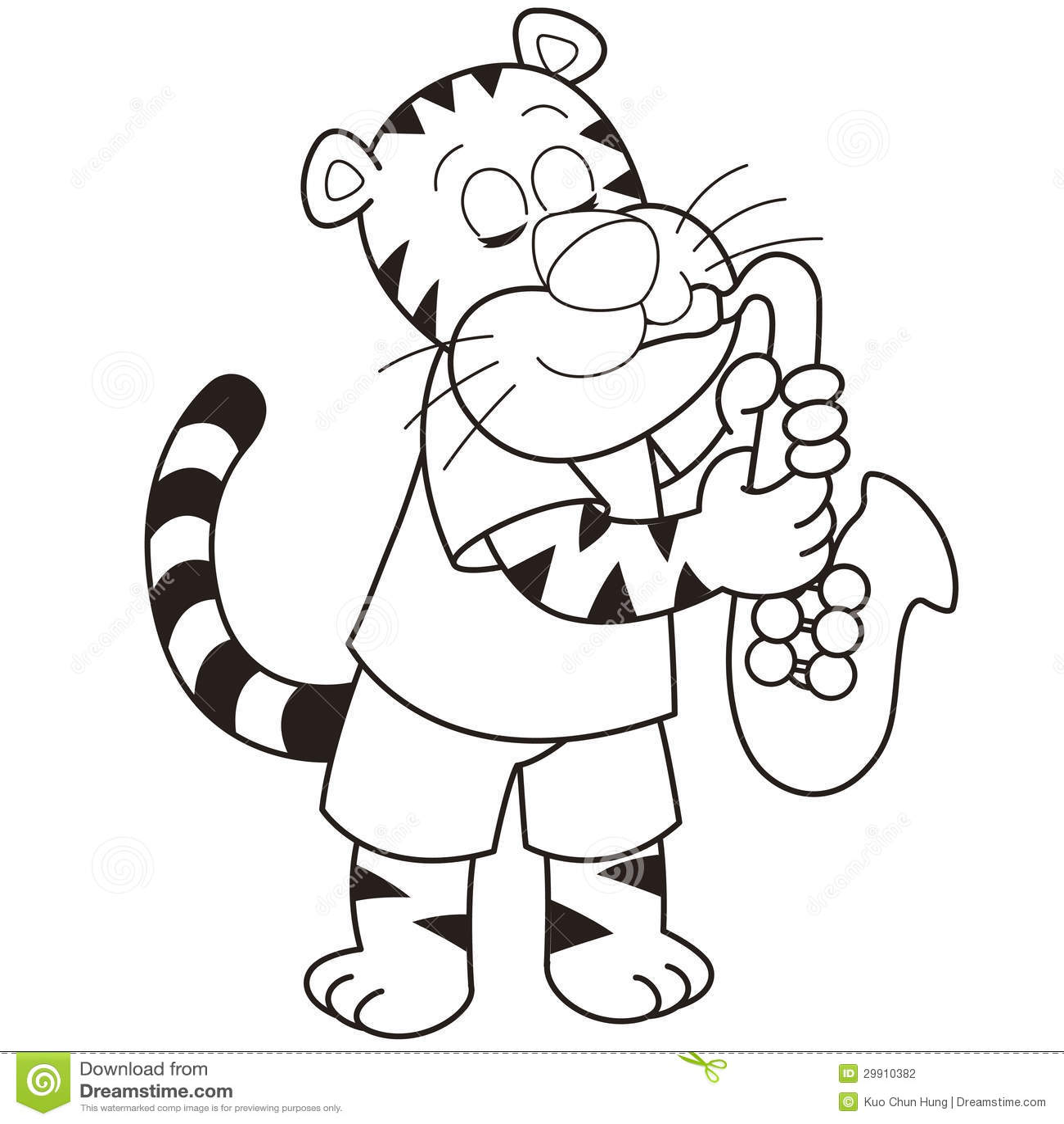cartoon tiger playing a saxophone stock photography image 29910382
