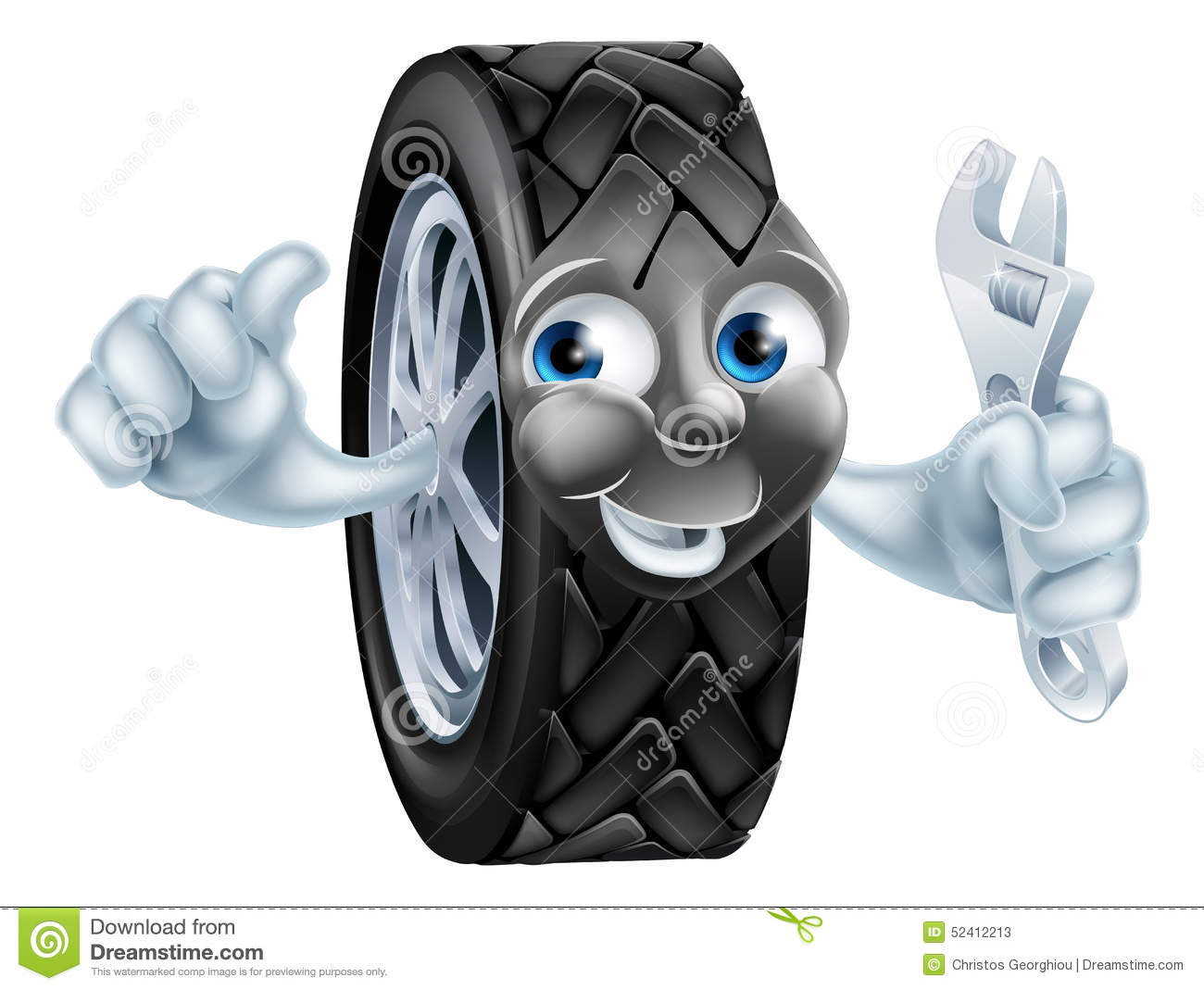 Cartoon Tire Mascot With Wrench Stock Vector Image 52412213