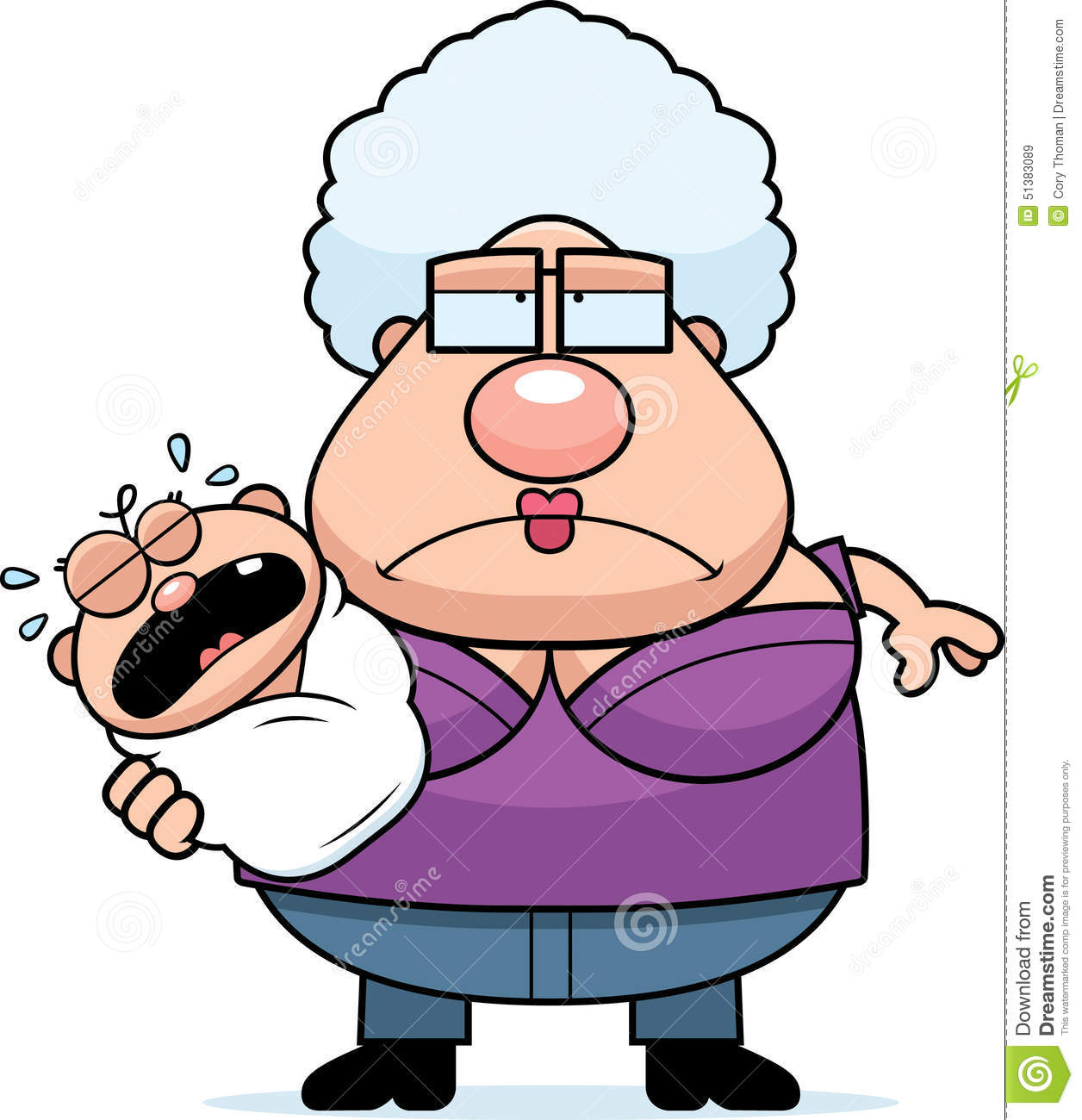 Cartoon Tired Grandma With Baby Stock Vector