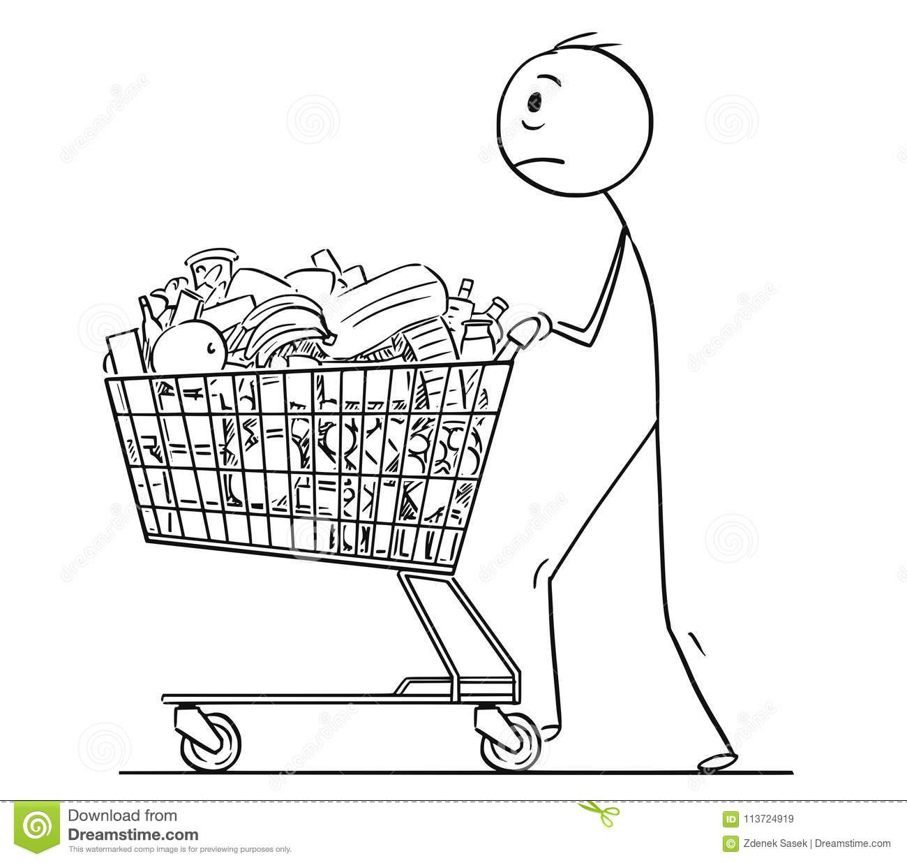 This is a photo of Effortless Shopping Cart Drawing