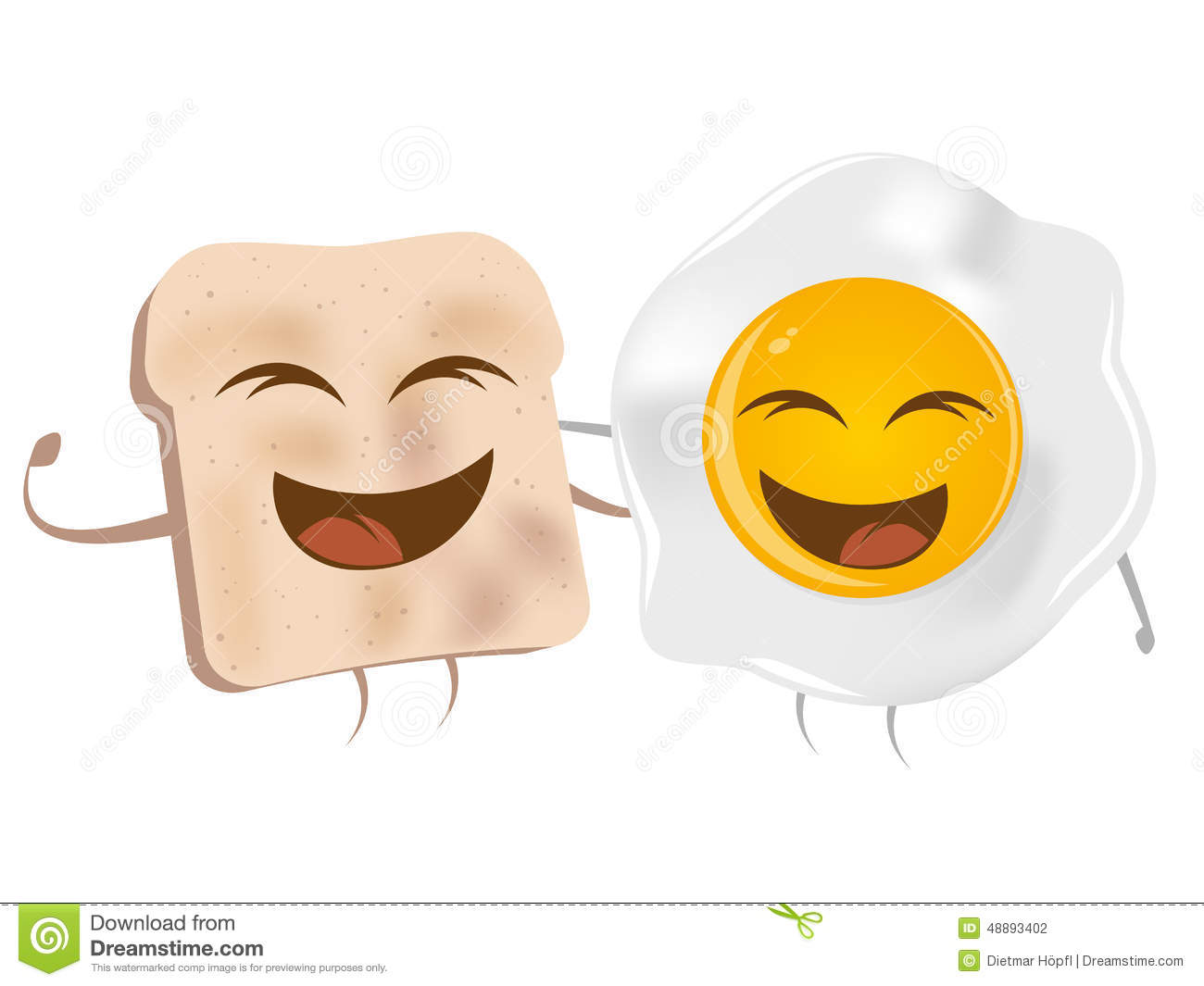 Cartoon Toast And Fried Egg Stock Vector - Image: 48893402