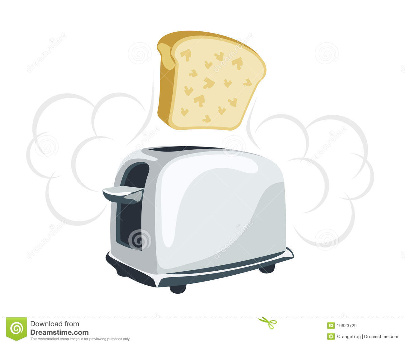 Toaster Plugged In ~ Cartoon toaster with a toast stock vector illustration