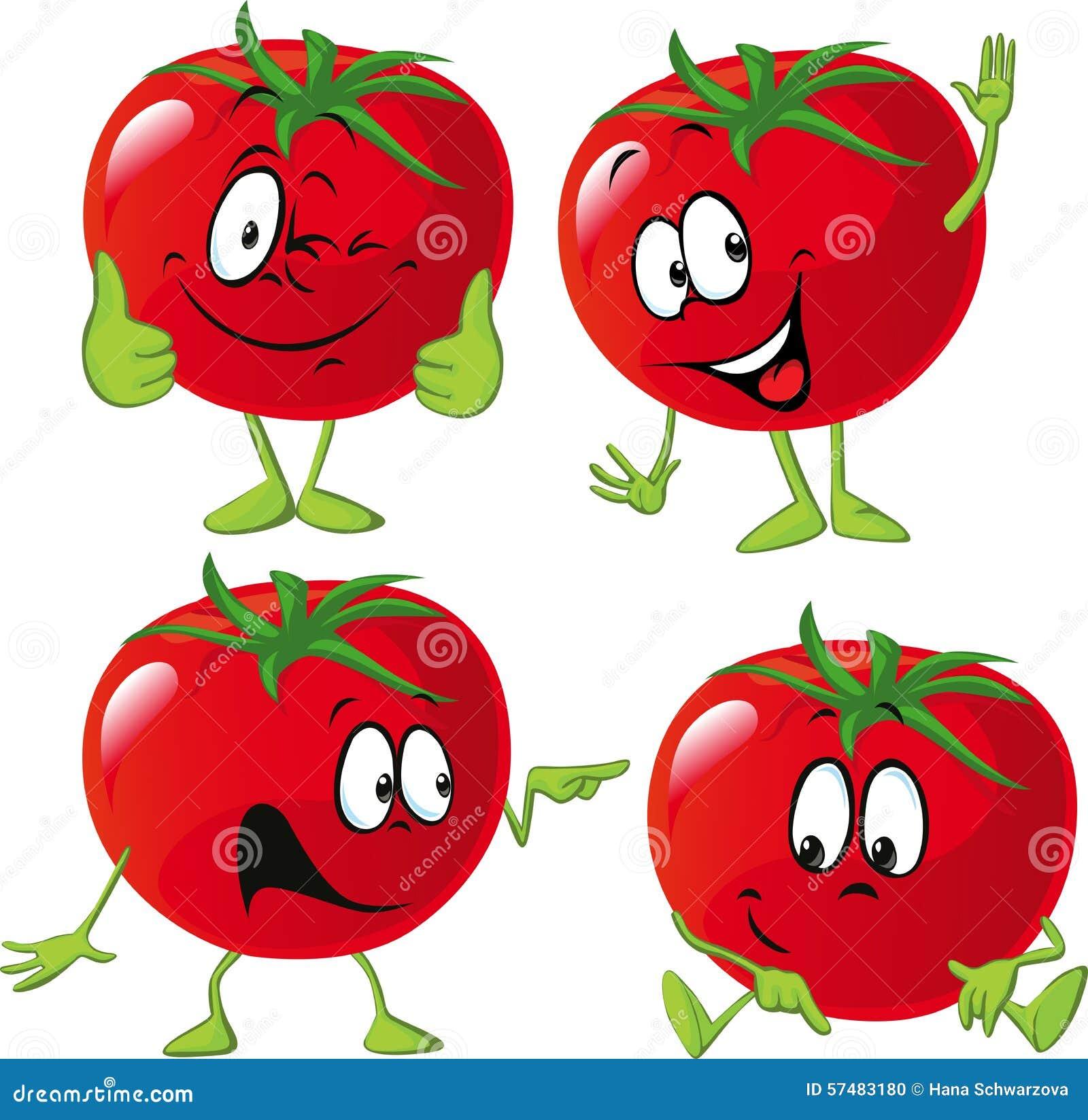 Cartoon Tomato With Many Expression Hand And Leg Stock
