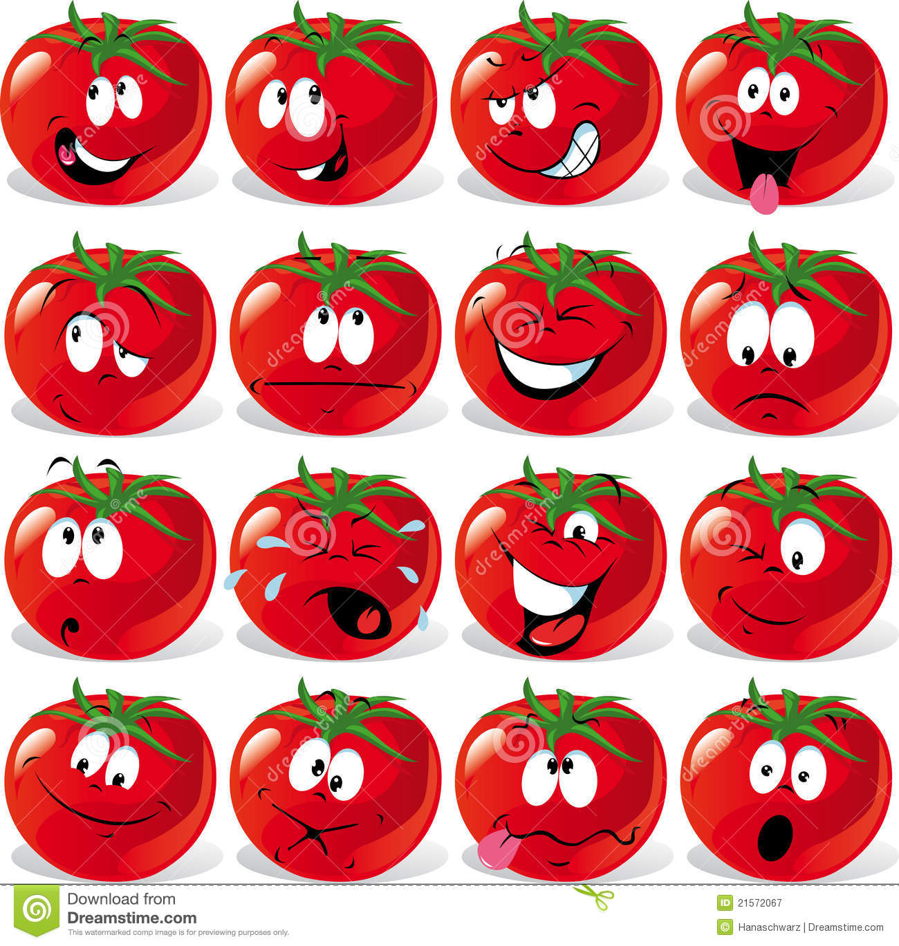 Cartoon tomato with many expressions royalty free stock - Cerise dessin ...