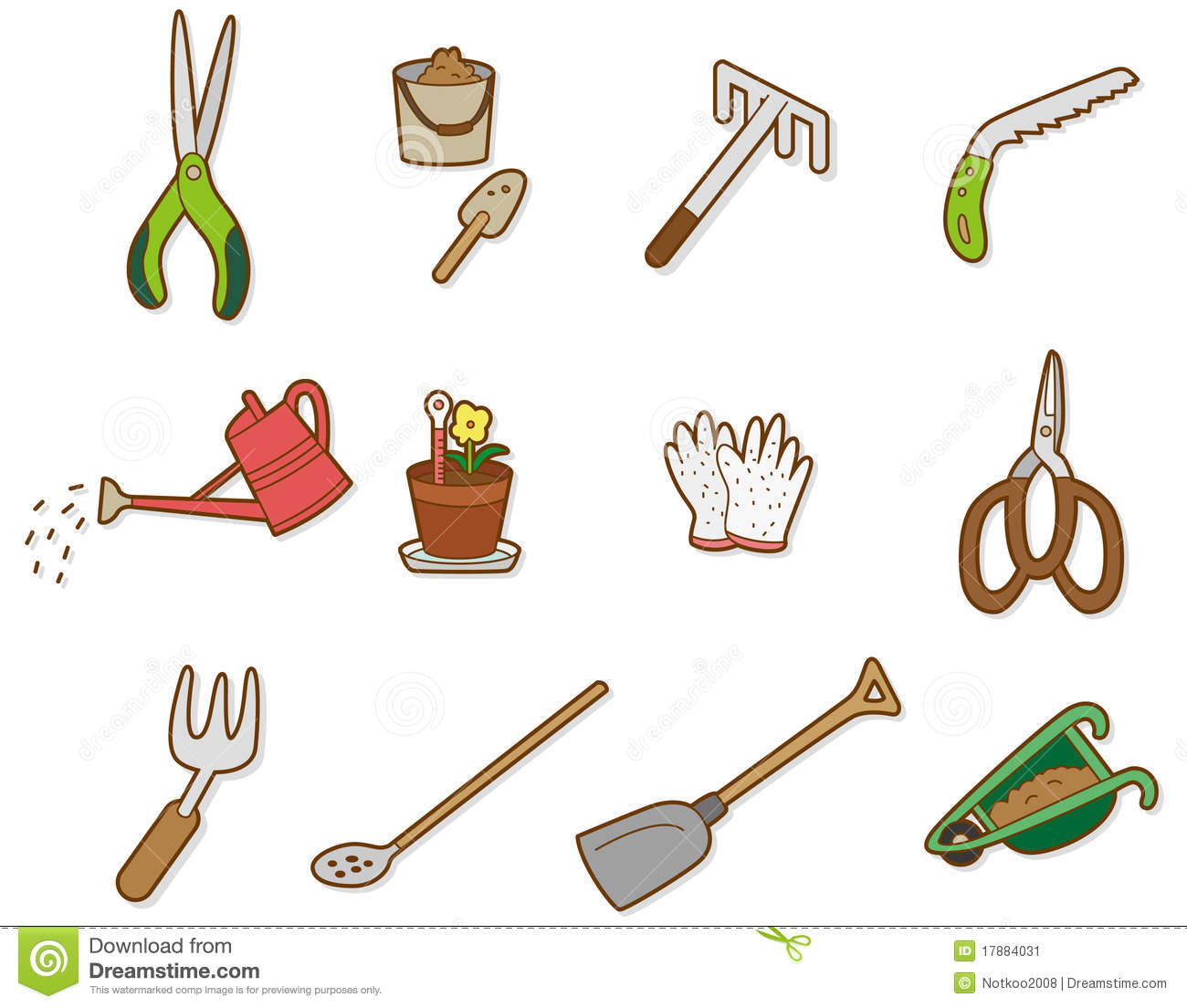 Cartoon tool icon stock illustration image of buckets for Gardening tools drawing
